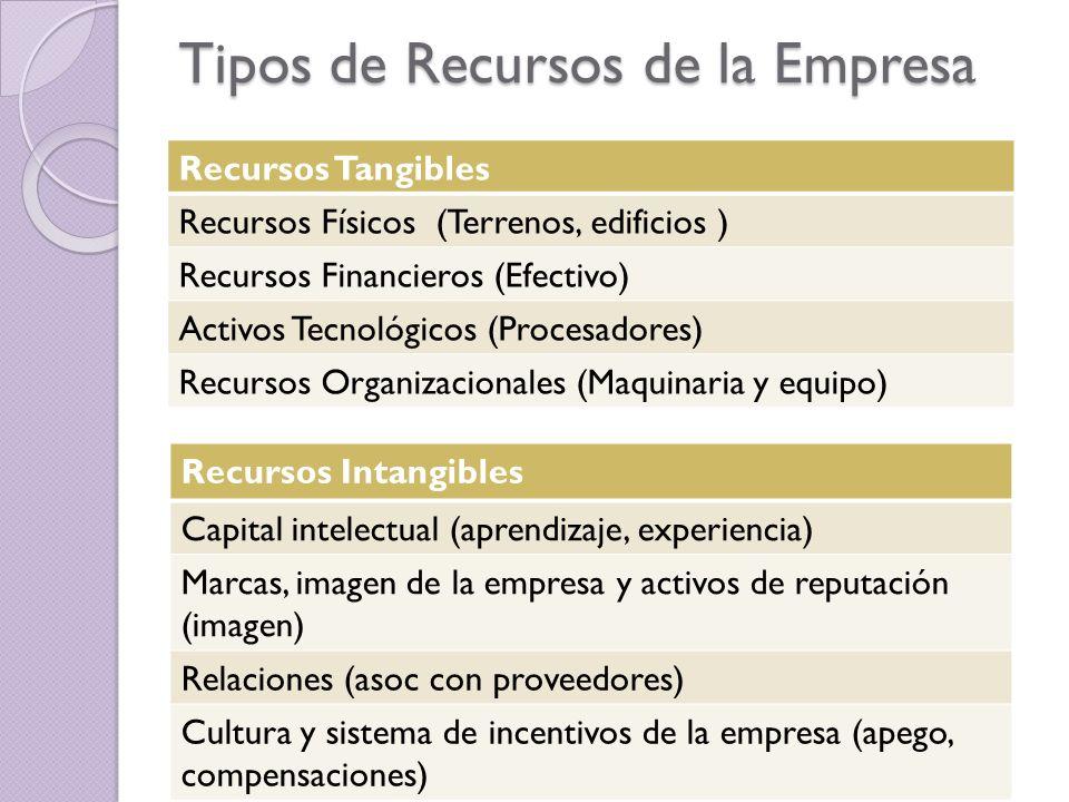 recursos de una empresa y ventaja Otra de los tipos de recursos de una empresa, y más específicamente los estratégicos corporativos, es la posición destacada de capital humano en forma de un.