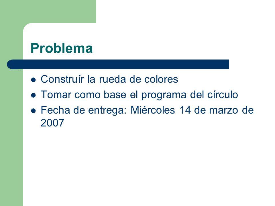Problema Construír la rueda de colores