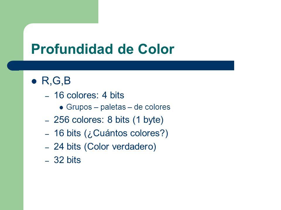 Profundidad de Color R,G,B 16 colores: 4 bits