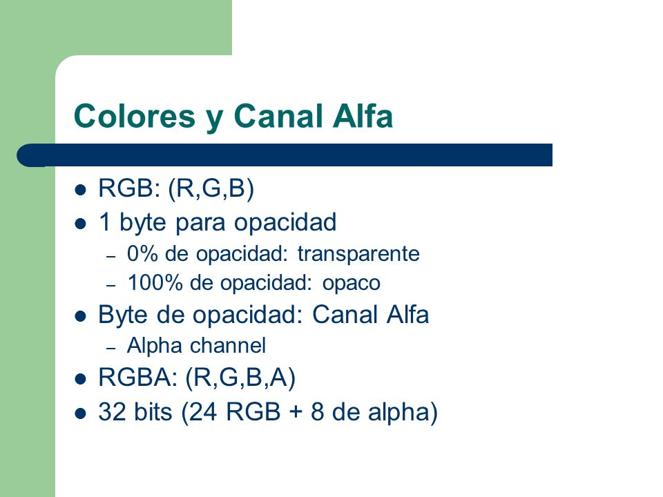 Colores y Canal Alfa RGB: (R,G,B) 1 byte para opacidad