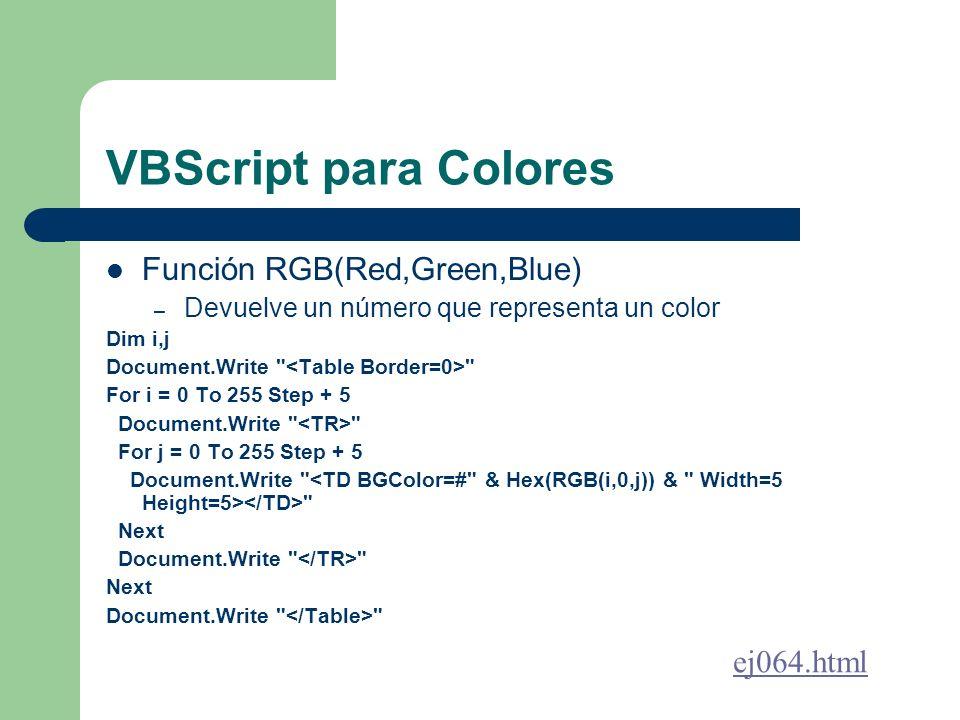 VBScript para Colores Función RGB(Red,Green,Blue) ej064.html
