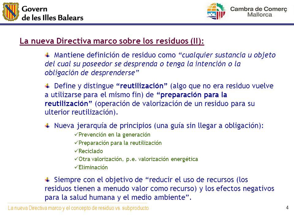 La nueva Directiva marco sobre los residuos (II):
