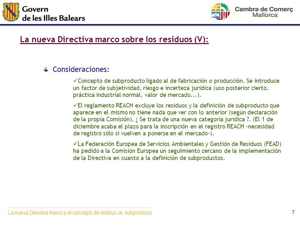 La nueva Directiva marco sobre los residuos (V):
