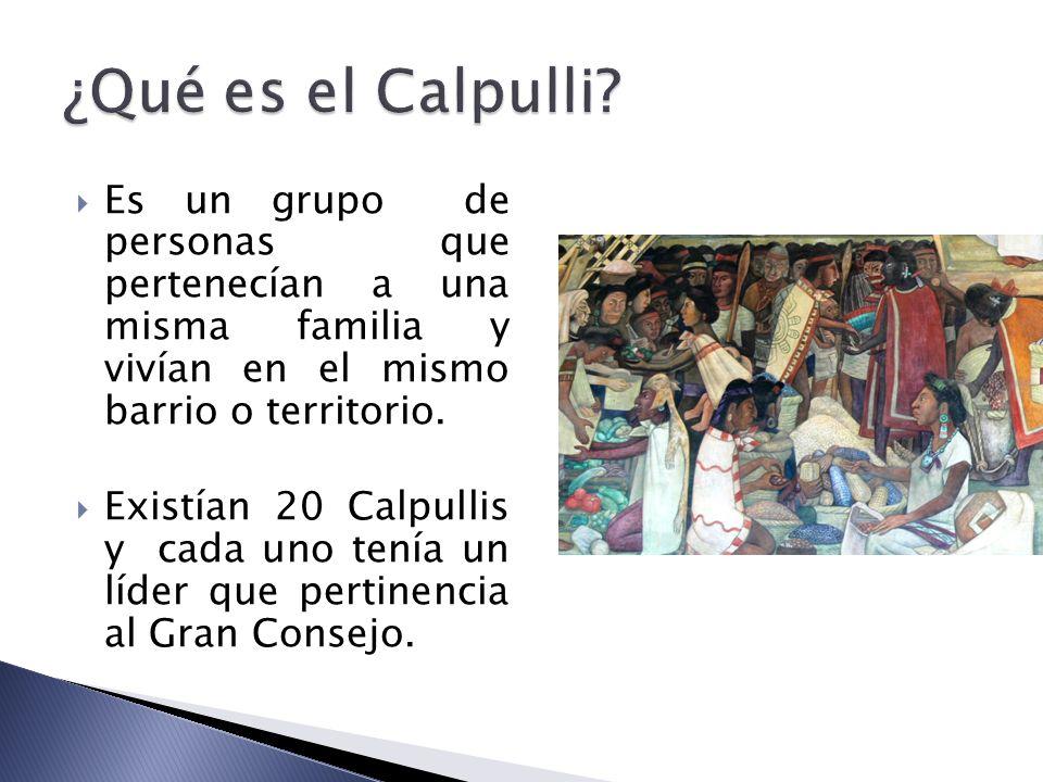 ¿Qué es el Calpulli Es un grupo de personas que pertenecían a una misma familia y vivían en el mismo barrio o territorio.