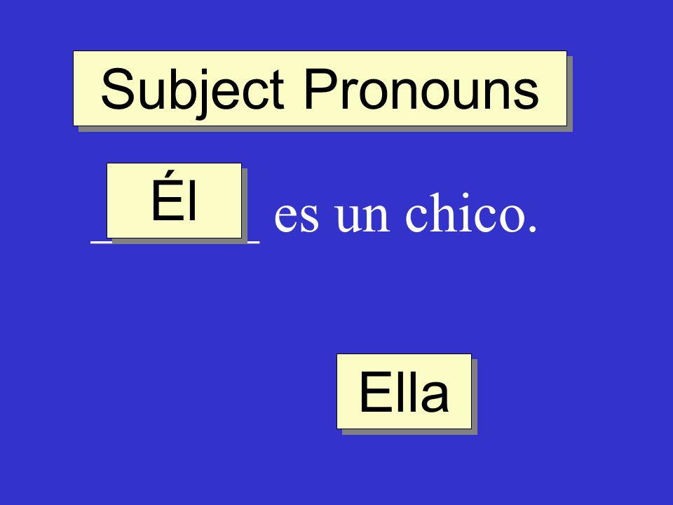 Subject Pronouns Él ______ es un chico. Ella