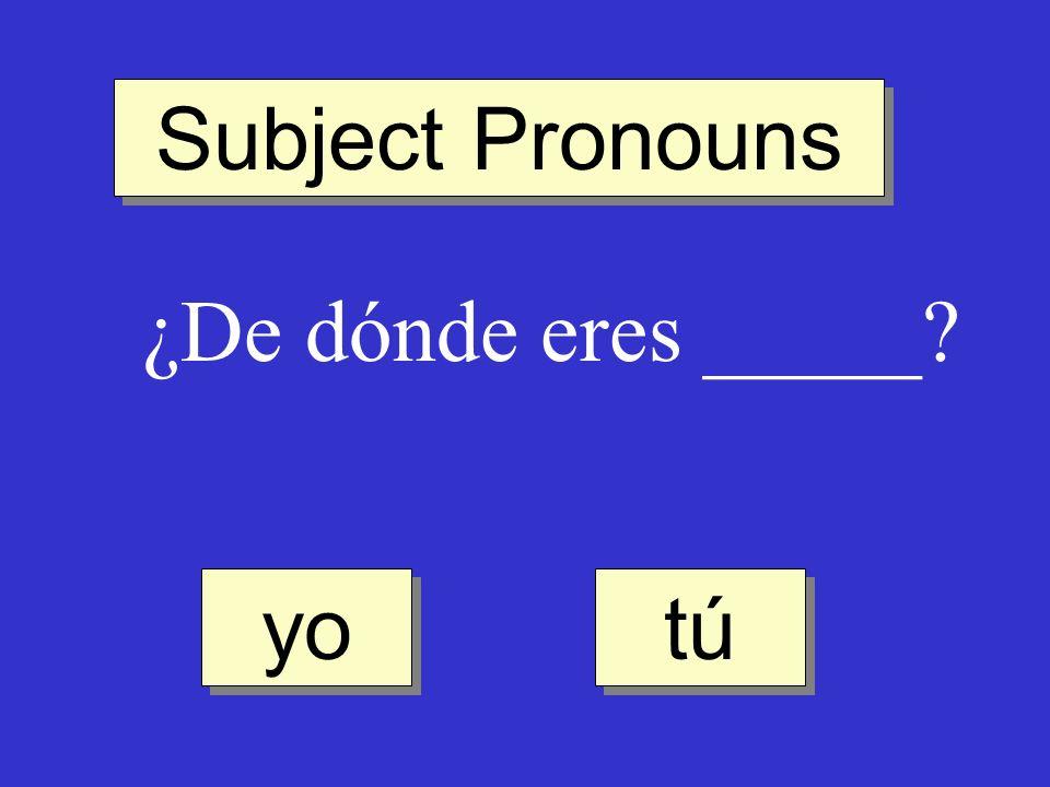 Subject Pronouns ¿De dónde eres _____ yo tú