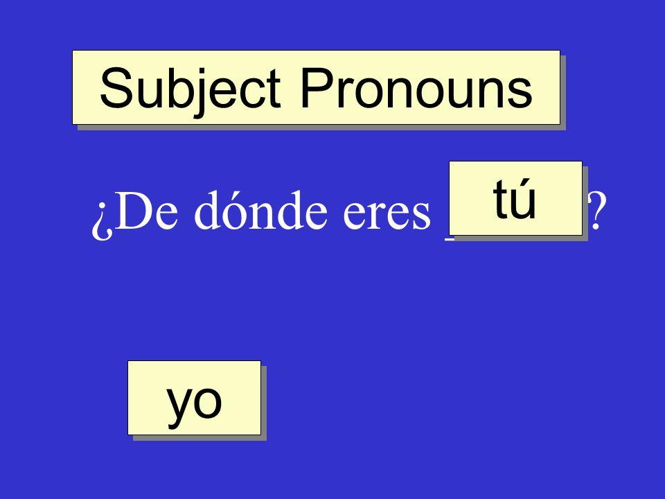 Subject Pronouns tú ¿De dónde eres _____ yo