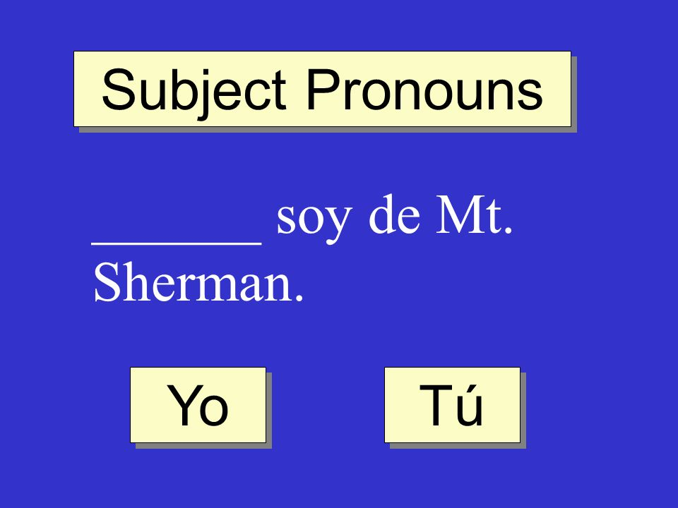 Subject Pronouns ______ soy de Mt. Sherman. Yo Tú