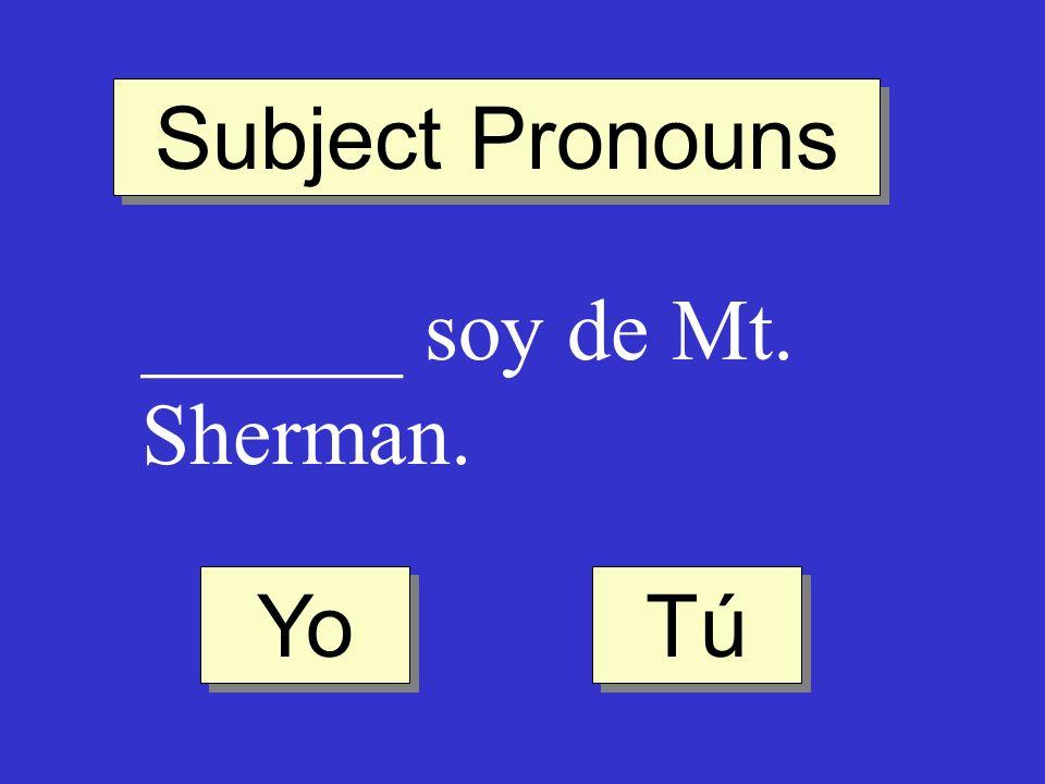 Subject Pronouns ______ soy de Mt. Sherman. Yo Tú