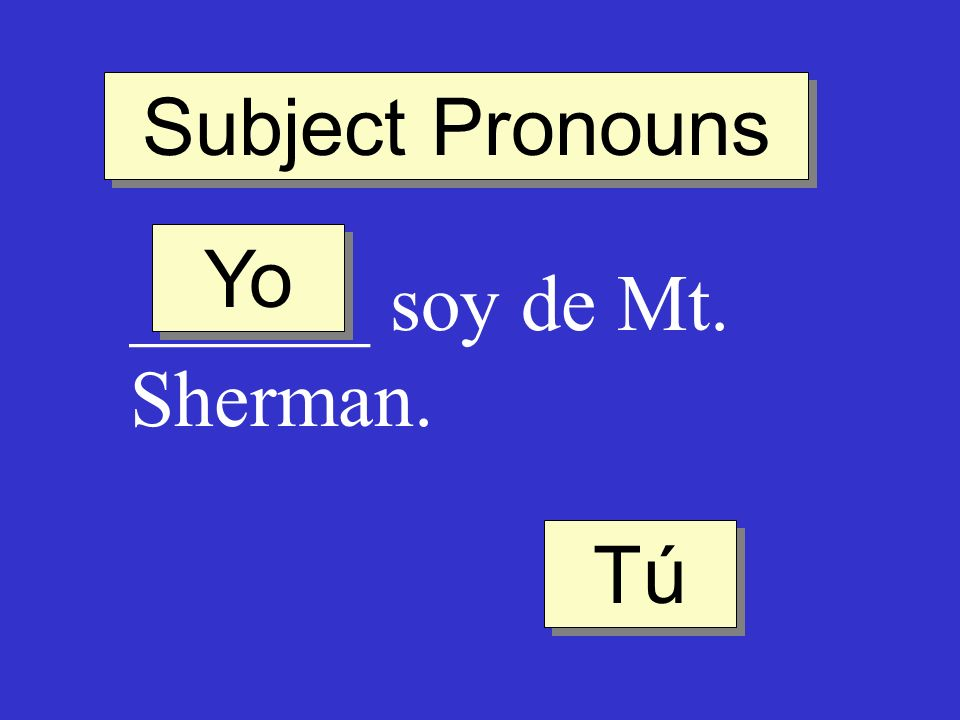 Subject Pronouns Yo ______ soy de Mt. Sherman. Tú