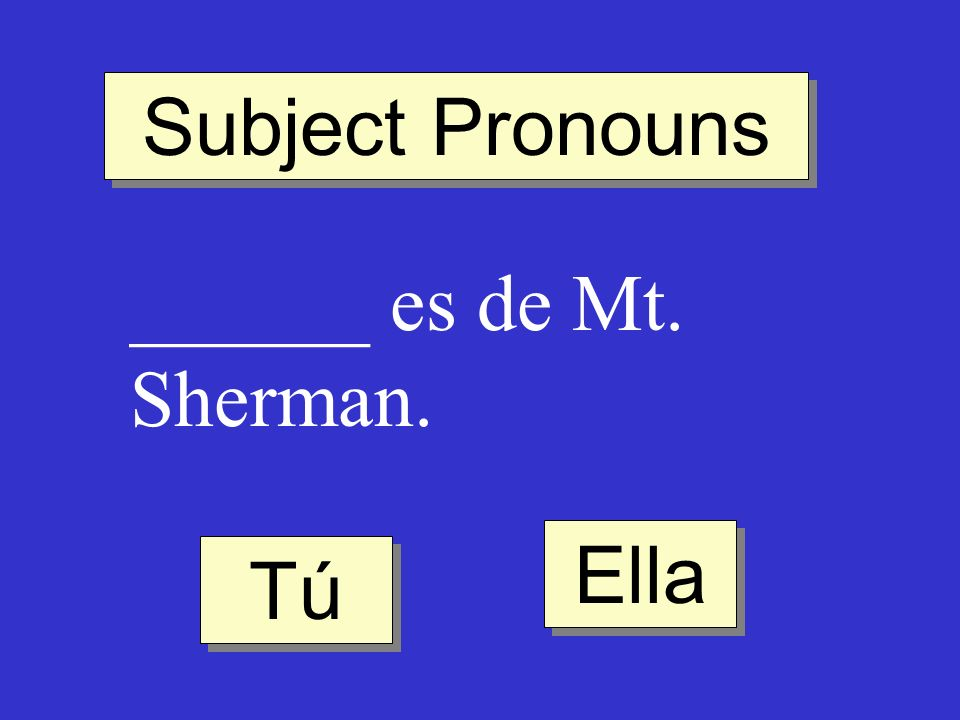 Subject Pronouns ______ es de Mt. Sherman. Ella Tú