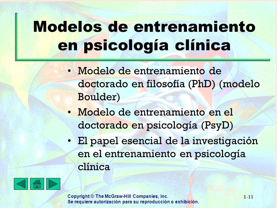 Modelos de entrenamiento en psicología clínica