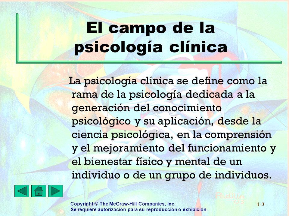El campo de la psicología clínica
