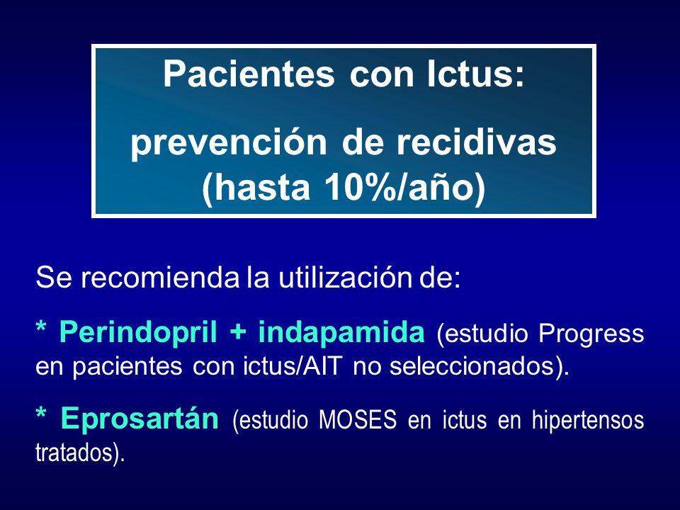 prevención de recidivas (hasta 10%/año)