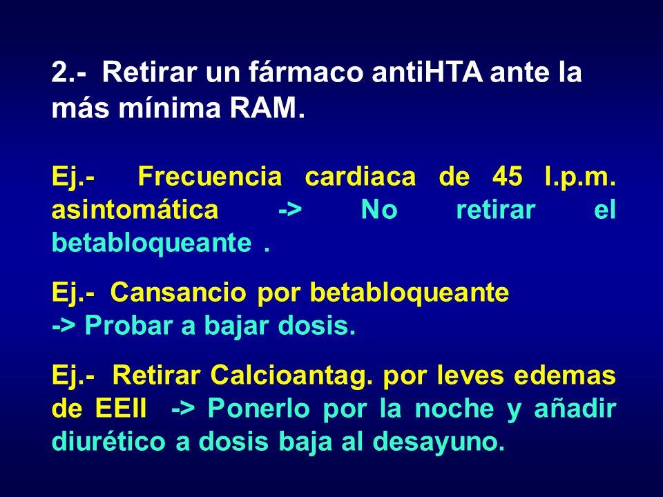 2.- Retirar un fármaco antiHTA ante la más mínima RAM.