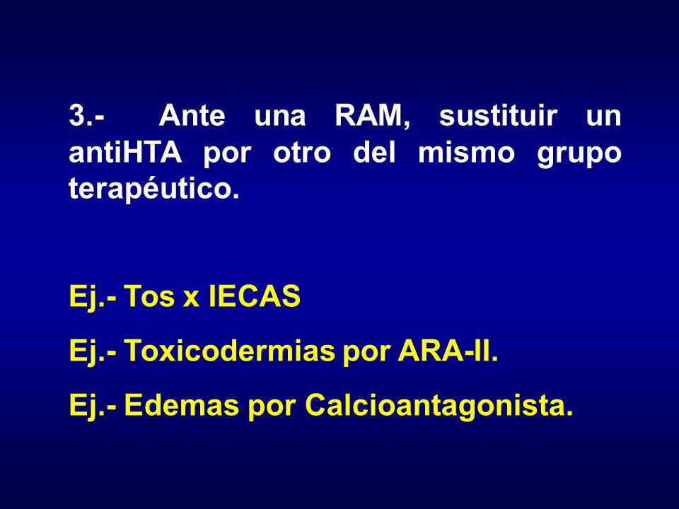 3.- Ante una RAM, sustituir un antiHTA por otro del mismo grupo terapéutico.
