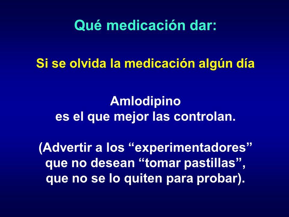 Qué medicación dar: Si se olvida la medicación algún día Amlodipino