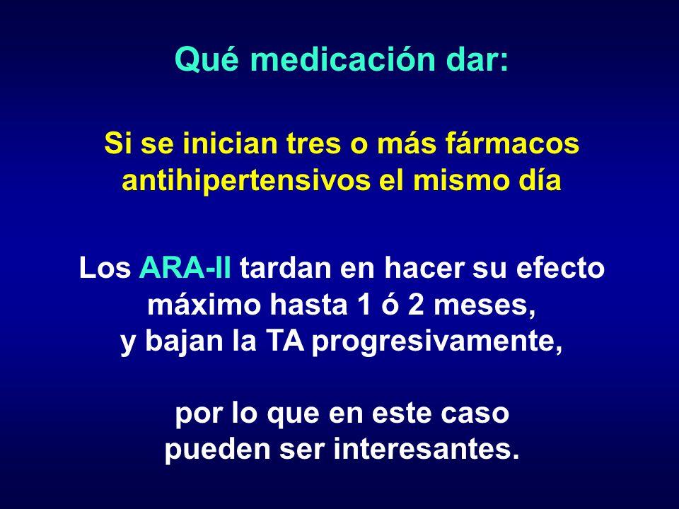 Qué medicación dar:Si se inician tres o más fármacos antihipertensivos el mismo día. Los ARA-II tardan en hacer su efecto máximo hasta 1 ó 2 meses,