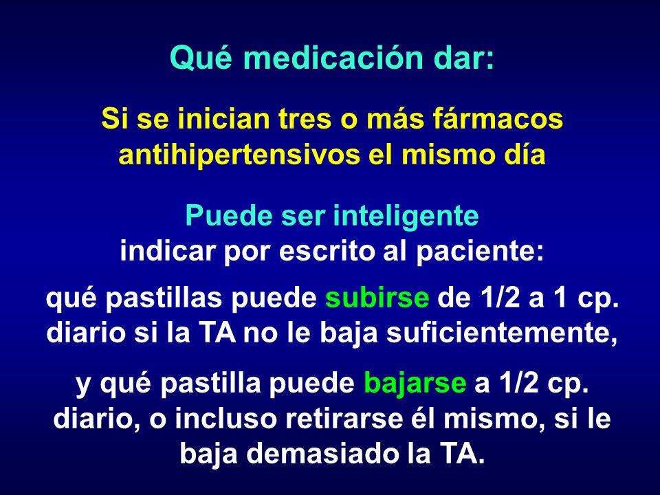 Qué medicación dar:Si se inician tres o más fármacos antihipertensivos el mismo día. Puede ser inteligente.
