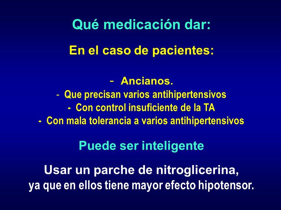 Qué medicación dar: En el caso de pacientes: Ancianos.
