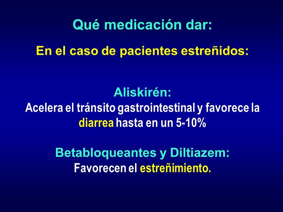 Qué medicación dar: En el caso de pacientes estreñidos: Aliskirén: