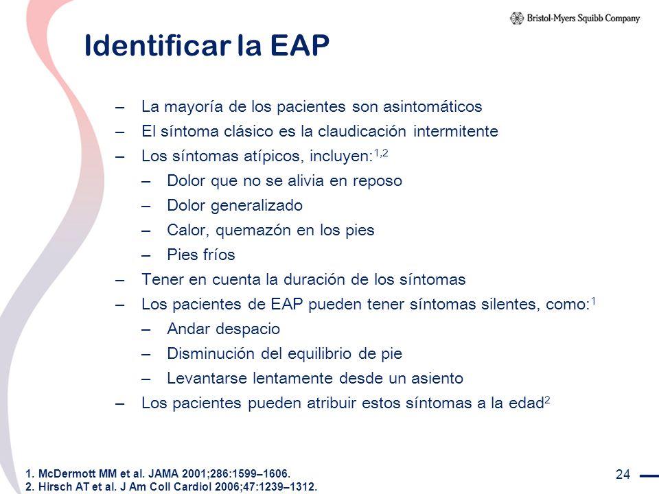 Identificar la EAP La mayoría de los pacientes son asintomáticos