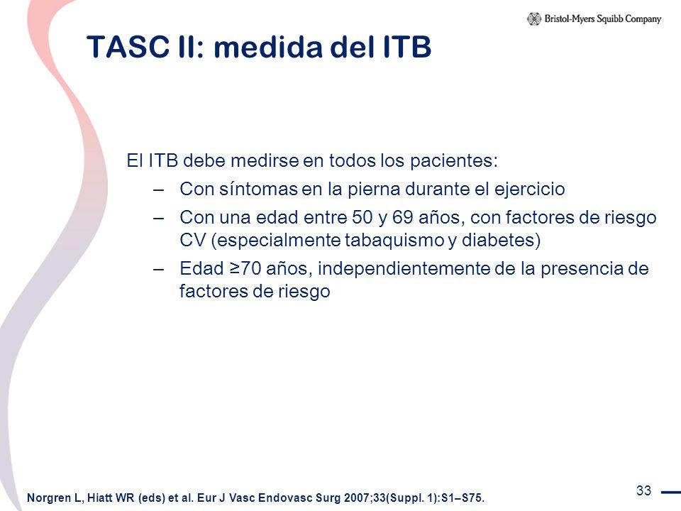 TASC II: medida del ITB El ITB debe medirse en todos los pacientes: