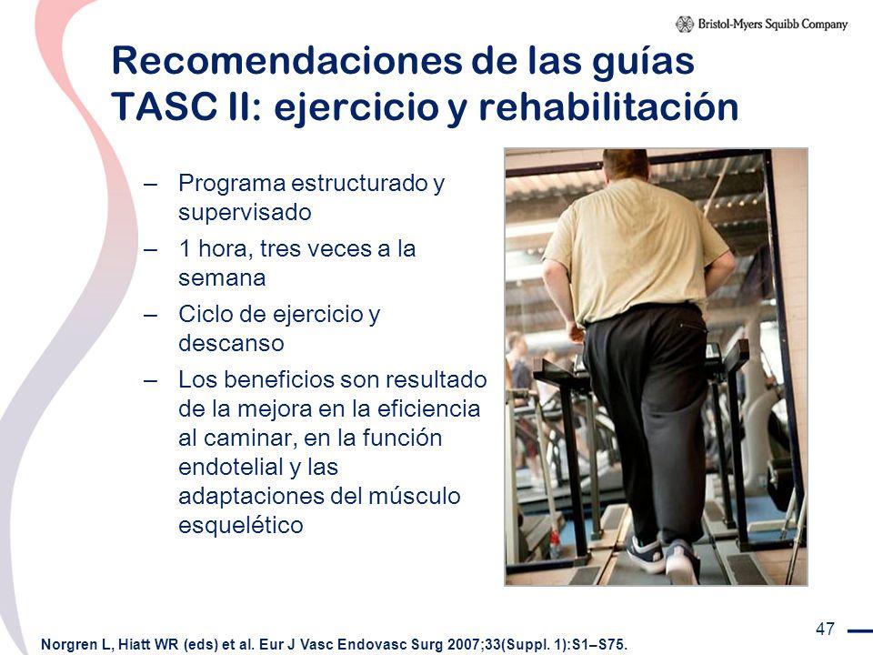 Recomendaciones de las guías TASC II: ejercicio y rehabilitación