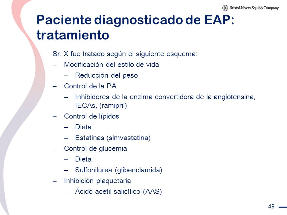 Paciente diagnosticado de EAP: tratamiento