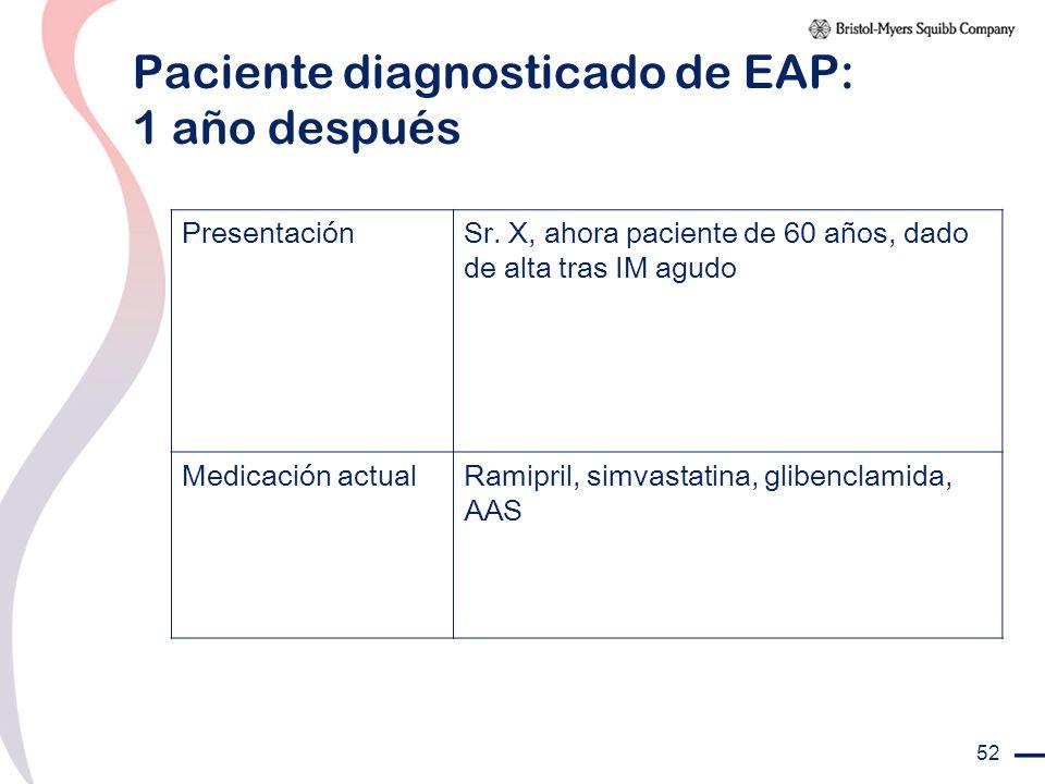 Paciente diagnosticado de EAP: 1 año después