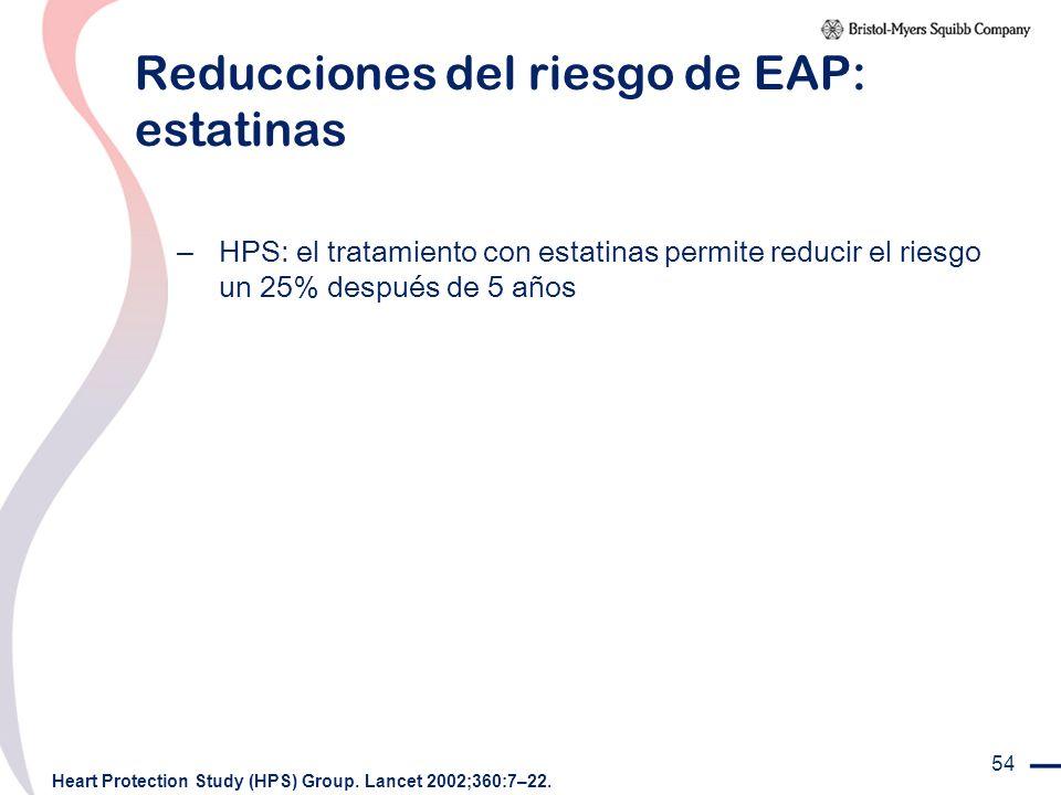Reducciones del riesgo de EAP: estatinas