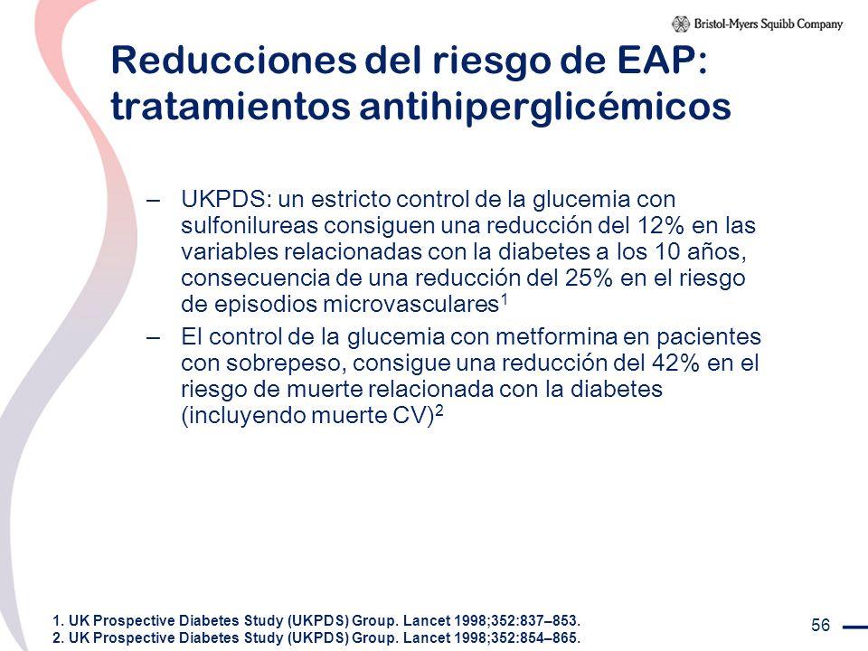 Reducciones del riesgo de EAP: tratamientos antihiperglicémicos