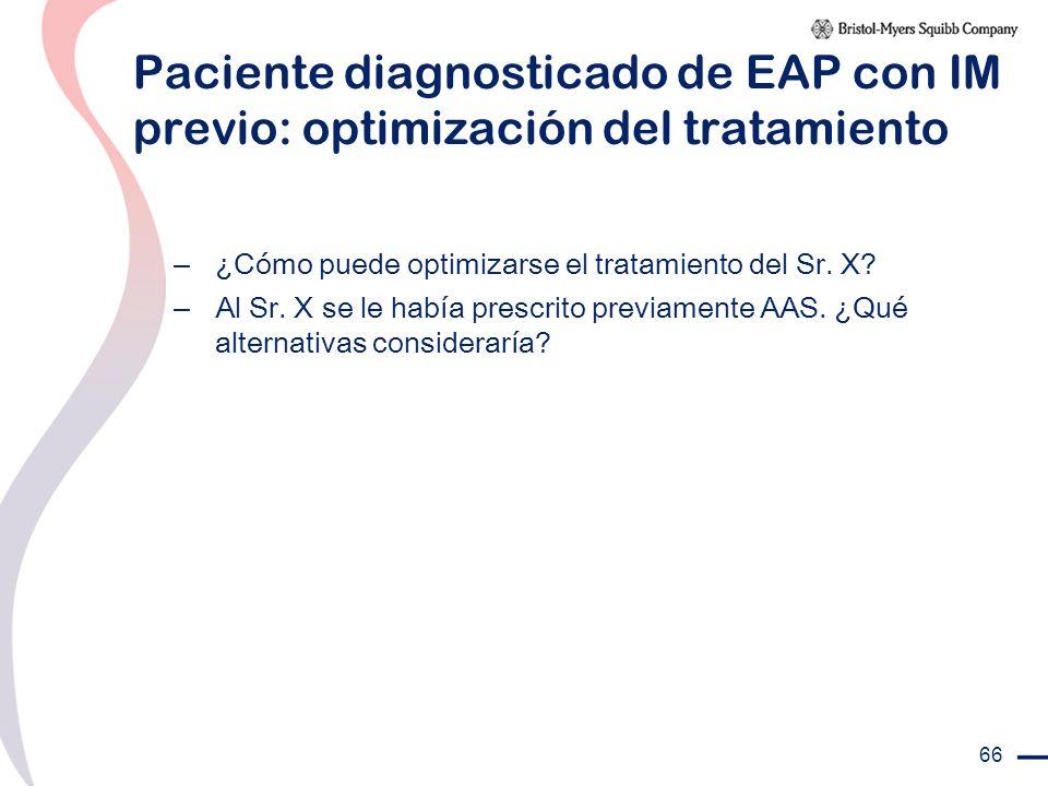 Paciente diagnosticado de EAP con IM previo: optimización del tratamiento