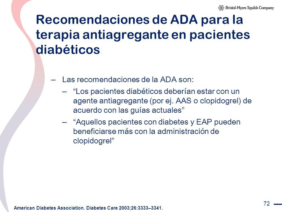 Recomendaciones de ADA para la terapia antiagregante en pacientes diabéticos
