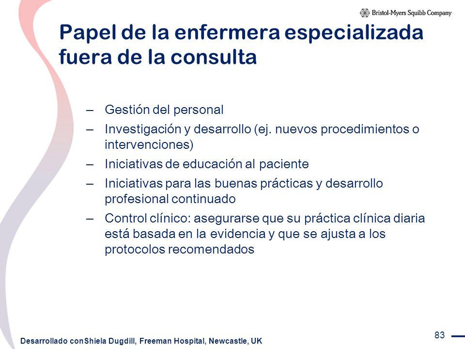 Papel de la enfermera especializada fuera de la consulta