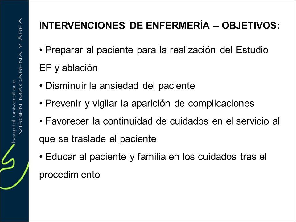 INTERVENCIONES DE ENFERMERÍA – OBJETIVOS: