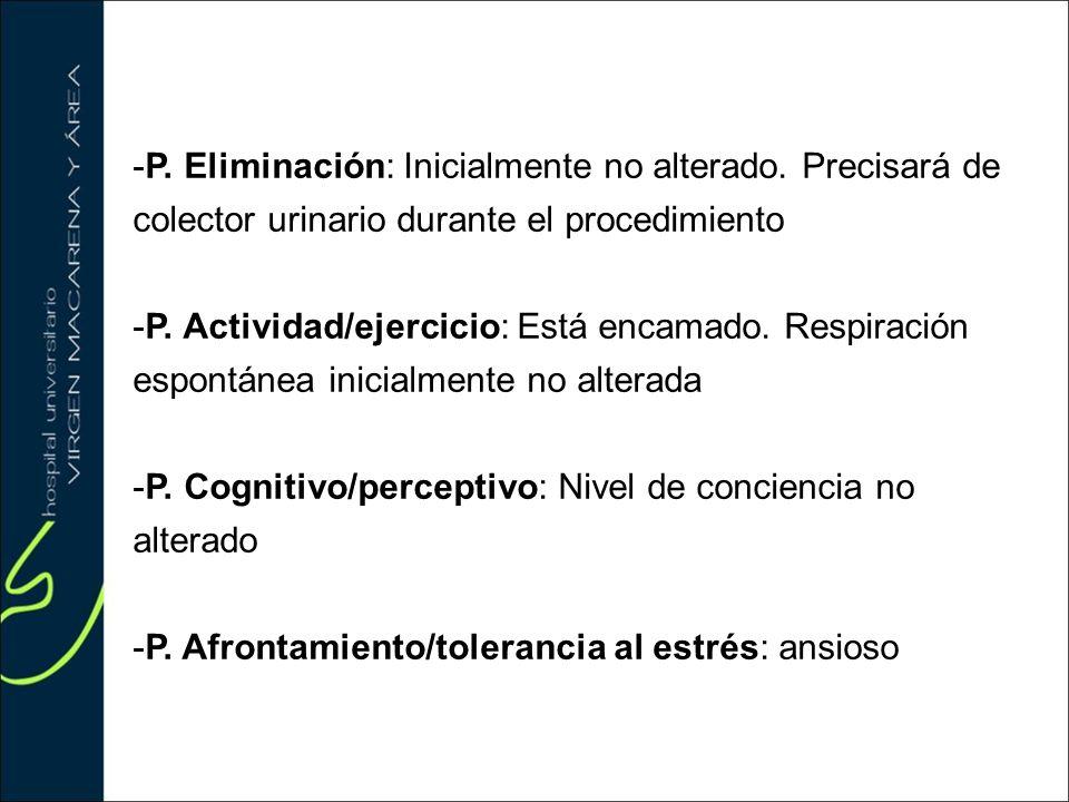 P. Eliminación: Inicialmente no alterado