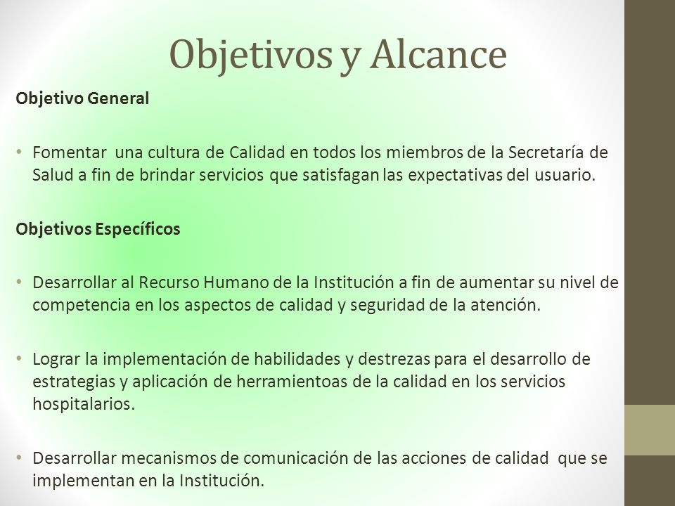 Objetivos y Alcance Objetivo General