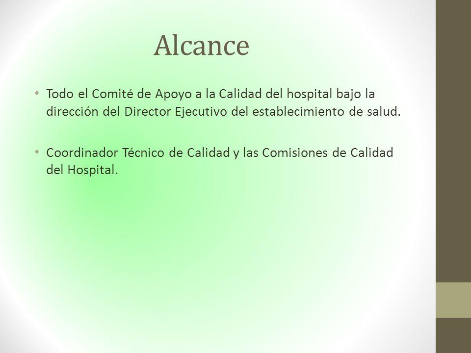 Alcance Todo el Comité de Apoyo a la Calidad del hospital bajo la dirección del Director Ejecutivo del establecimiento de salud.