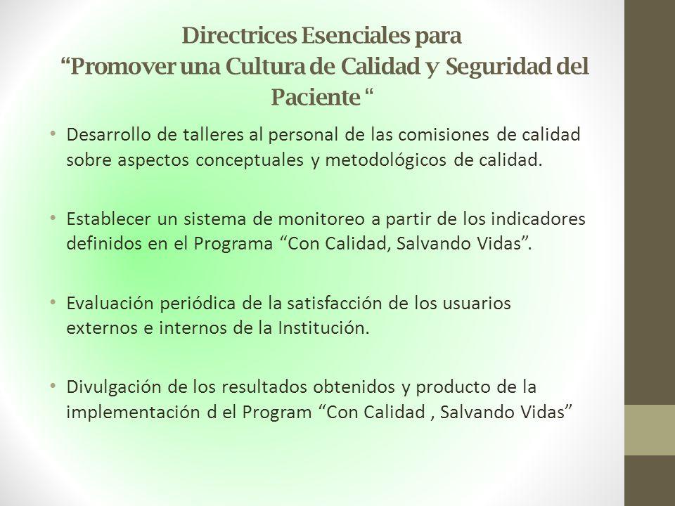 Directrices Esenciales para Promover una Cultura de Calidad y Seguridad del Paciente