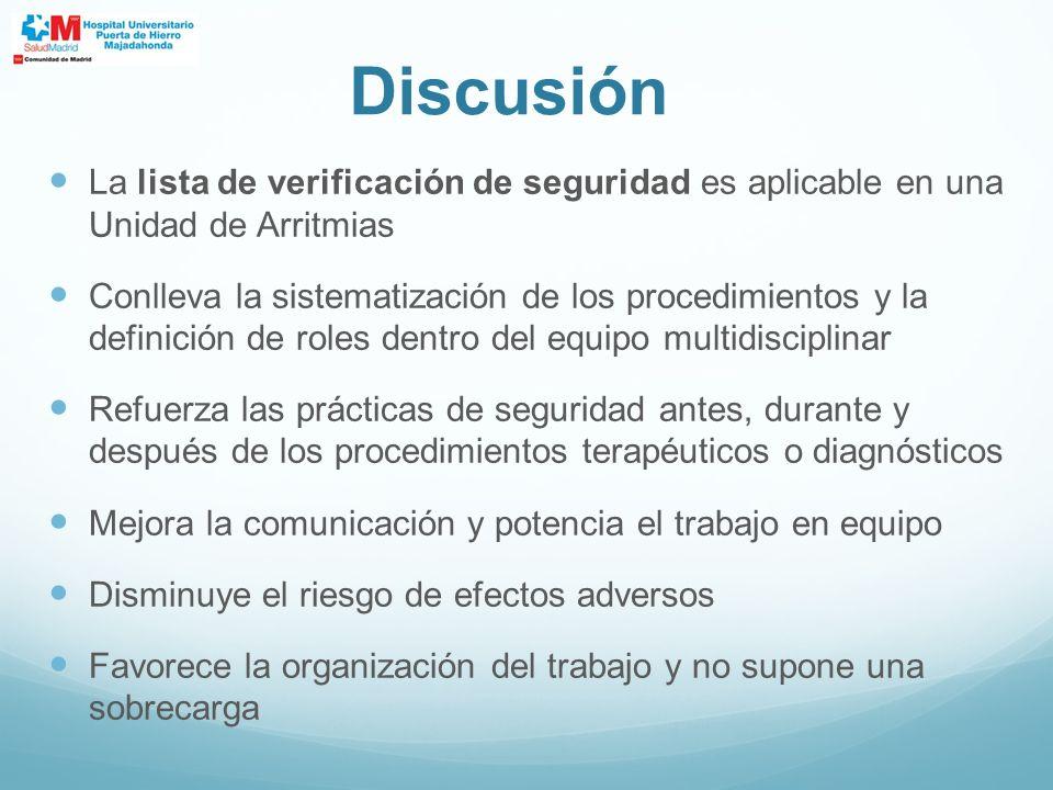 Discusión La lista de verificación de seguridad es aplicable en una Unidad de Arritmias.