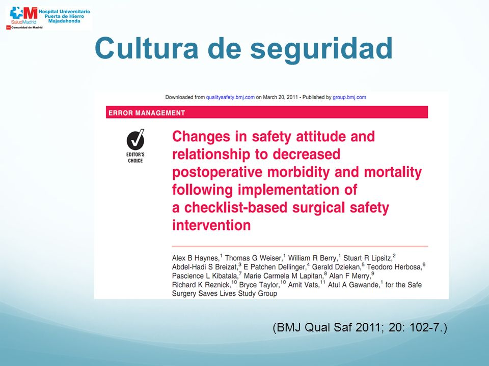 Cultura de seguridad (BMJ Qual Saf 2011; 20: 102-7.)