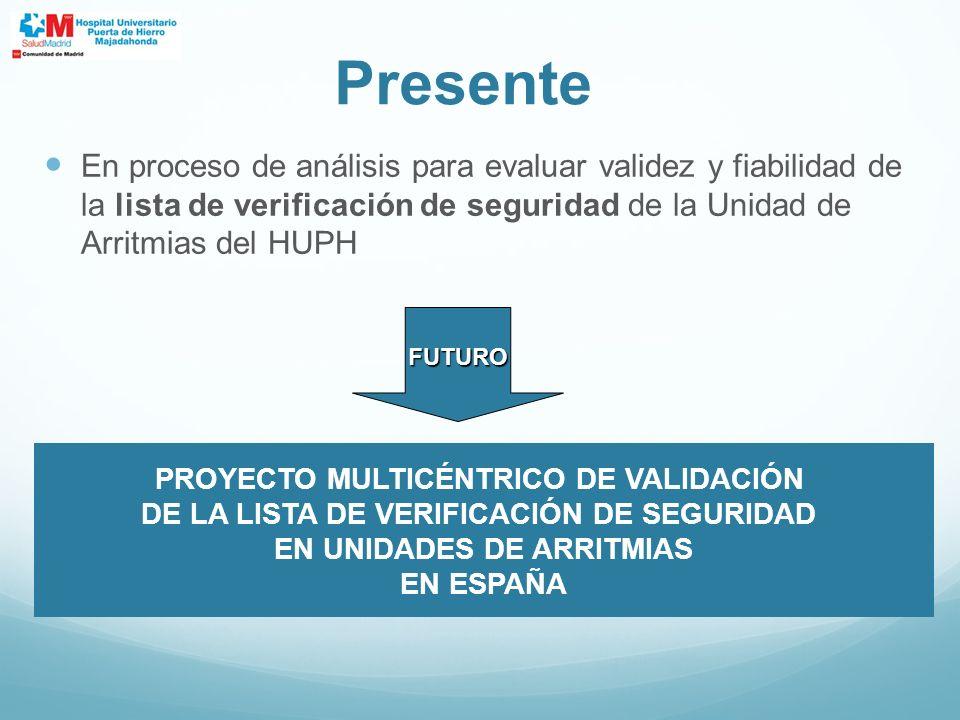 Presente En proceso de análisis para evaluar validez y fiabilidad de la lista de verificación de seguridad de la Unidad de Arritmias del HUPH.