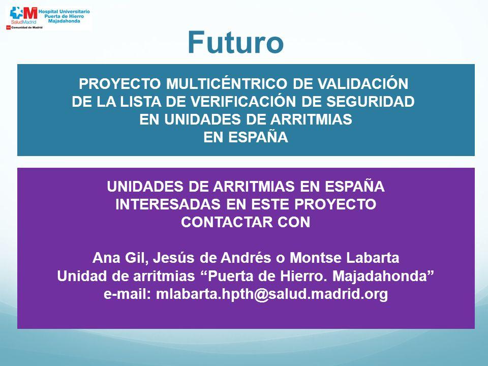 Futuro PROYECTO MULTICÉNTRICO DE VALIDACIÓN