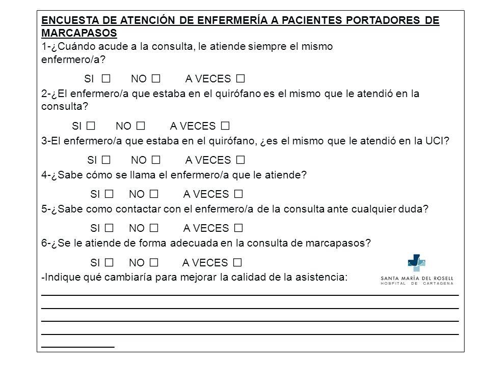 ENCUESTA DE ATENCIÓN DE ENFERMERÍA A PACIENTES PORTADORES DE MARCAPASOS
