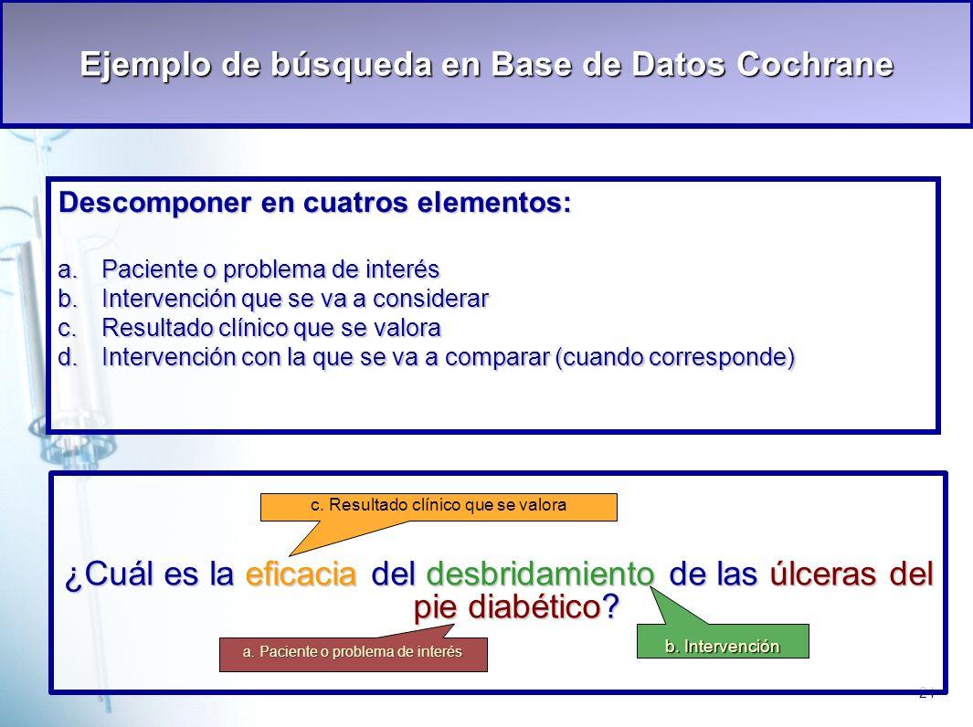 Ejemplo de búsqueda en Base de Datos Cochrane