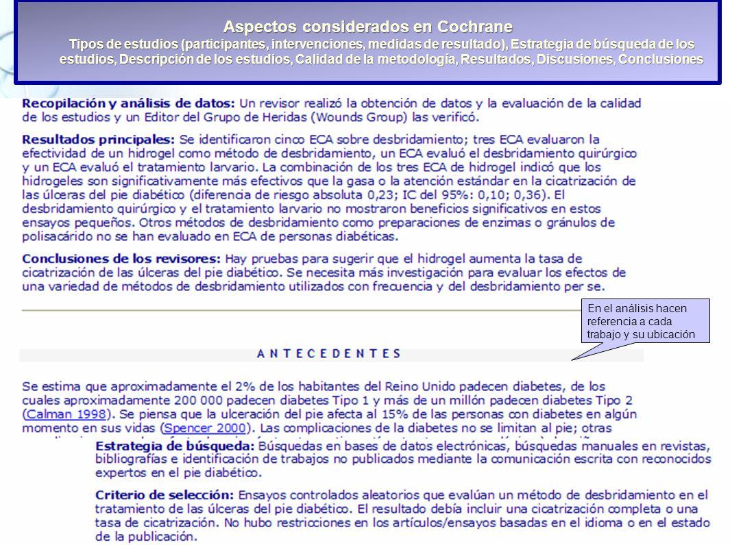Aspectos considerados en Cochrane Tipos de estudios (participantes, intervenciones, medidas de resultado), Estrategia de búsqueda de los estudios, Descripción de los estudios, Calidad de la metodología, Resultados, Discusiones, Conclusiones