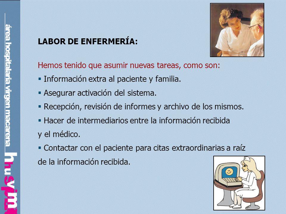 LABOR DE ENFERMERÍA:Hemos tenido que asumir nuevas tareas, como son: Información extra al paciente y familia.