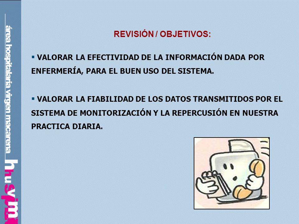 REVISIÓN / OBJETIVOS:VALORAR LA EFECTIVIDAD DE LA INFORMACIÓN DADA POR ENFERMERÍA, PARA EL BUEN USO DEL SISTEMA.