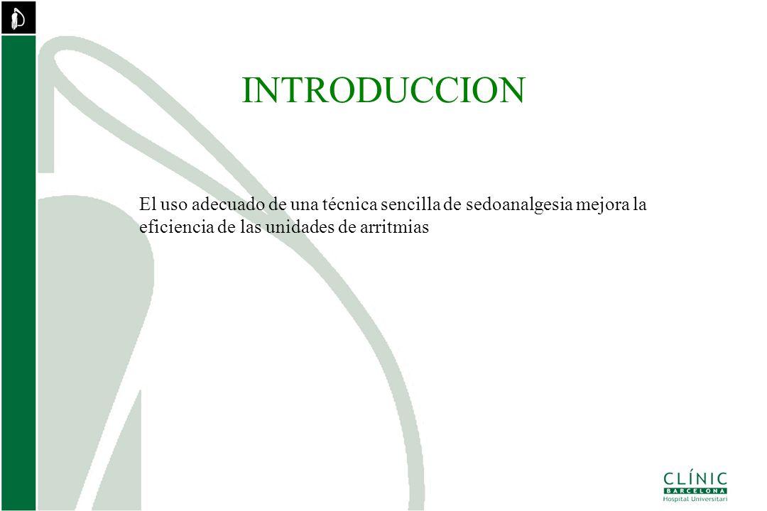 INTRODUCCION El uso adecuado de una técnica sencilla de sedoanalgesia mejora la eficiencia de las unidades de arritmias.